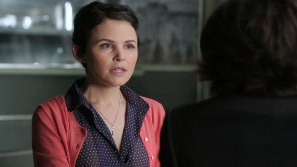 Mary Margaret with a key on her necklace