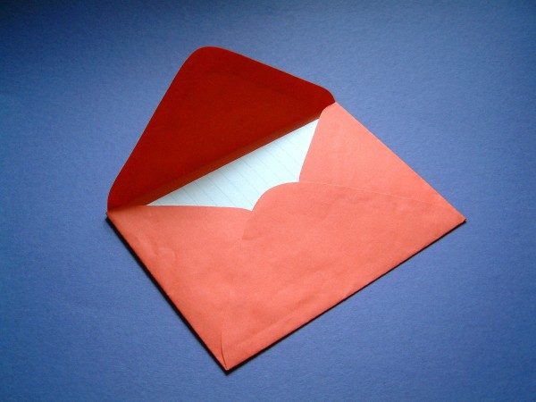 Red envelope on blue background
