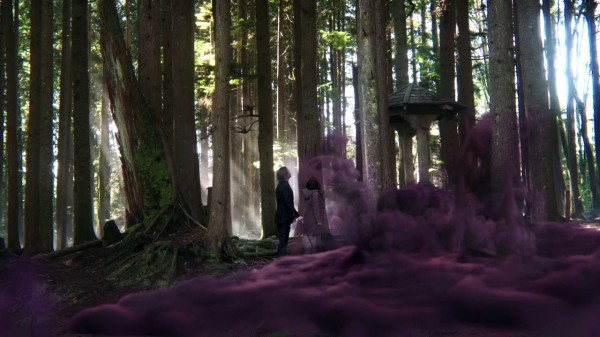 Mr Gold and Belle at well with purple smoke (A Land Without Magic-s01e22)