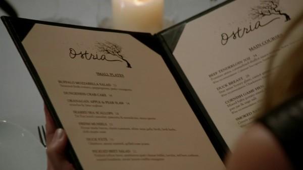 Ostria Menu (3x12 New York City Serenade)