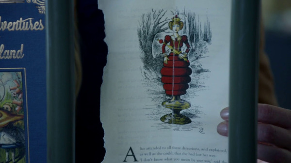 Once Upon a Time 2x04 The Apprentice - Red Queen page in Alice's Adventures in Wonderland book