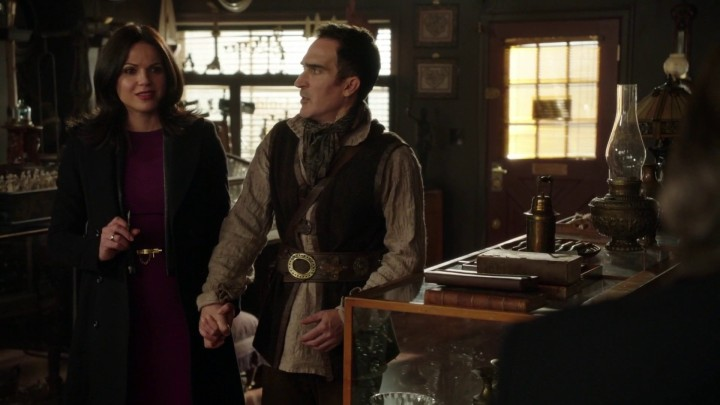 Once Upon a Time 4x21 Mother - Regina and Author Isaac at Mr. Gold's shop
