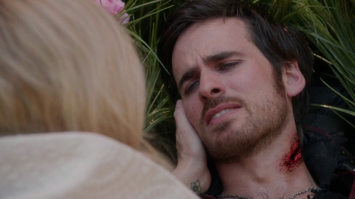 Once Upon a Time 5x08 Birth - Emma with dying Hook in field of Middlemist flowers