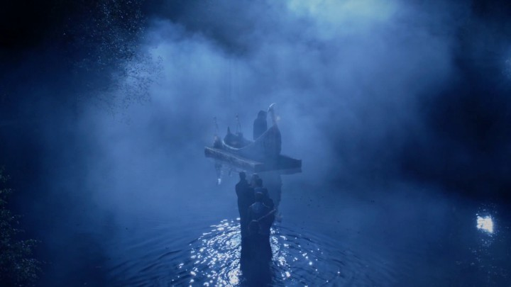 Once Upon a Time 5x11 Swan Song - Charmings, Regina, Robin Hood, and Rumplestiltskin on the boat to the Underworld
