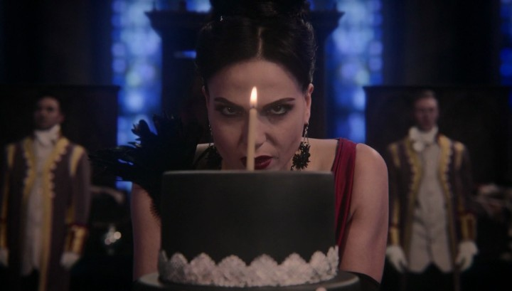 Once Upon a Time 5x12 Souls of the Departed - The Evil Queen Regina blowing her birthday cake
