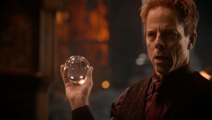 Once Upon a Time podcast 5x14 Devil's Due - Hades holding crystal ball revealing Belle's pregnancy