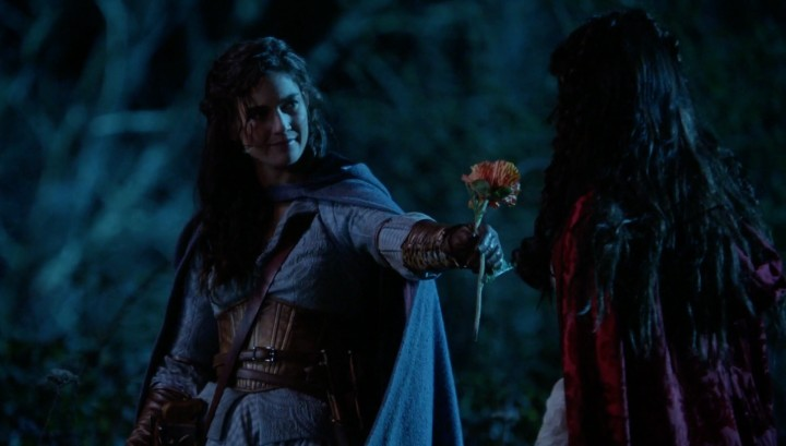 Once Upon a Time podcast 5x18 Ruby Slippers - Dorothy giving poppies flower to Red in Oz