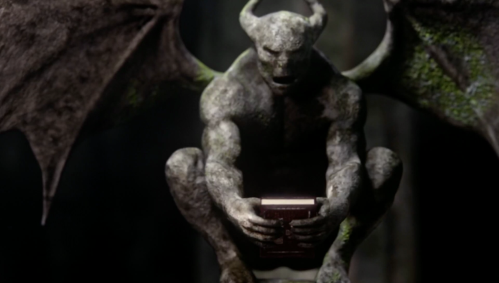Once Upon a Time 5x21 Last Rites - River of Lost Souls Acheron gargoyle holding storybook