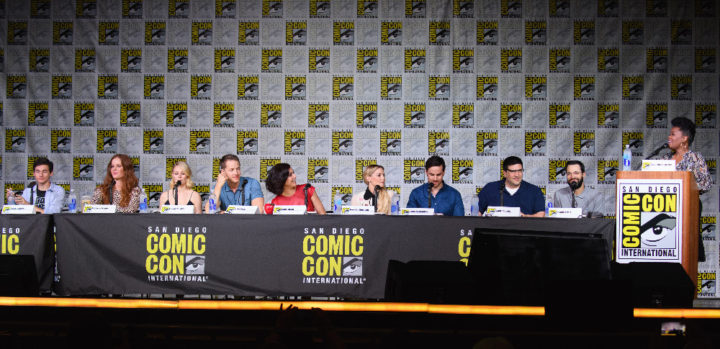 "ONCE UPON A TIME - Executive producers and cast of ""Once Upon a Time"" were featured at the Comic-Con Convention in San Diego, California, on July 23, 2016. (ABC/Todd Wawrychuk) JARED GILMORE, REBECCA MADER, EMILIE DERAVIN, JOSH DALLAS, LANA PARILLA, JENNIFER MORRISON, COLIN O'DONOGHUE, ADAM HOROWITZ (EXECUTIVE PRODUCER), EDWARD KITSIS (EXECUTIVE PRODUCER), YVETTE NICOLE BROWN (MODERATOR)"