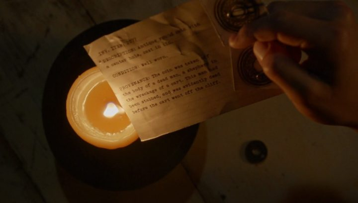 Once Upon a Time 6x03 The Other Shoe - David holds coin inventory card