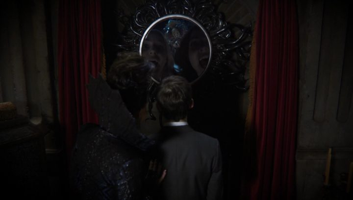 Once Upon a Time podcast 6x08 I'll Be Your Mirror - Henry and the Evil Queen looking at Emma and Regina in the world on one-way mirrors