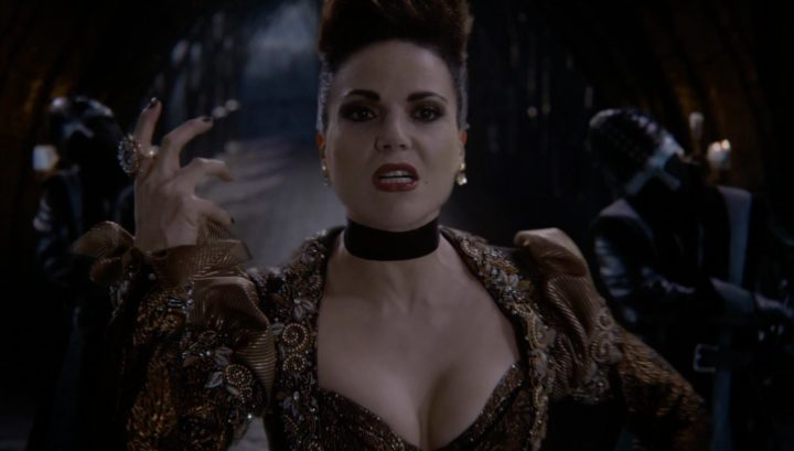 Once Upon a Time 6x20 The Song in Your Heart - Evil Queen sings Love Doesn't Stand a Chance snaps guard'snecks