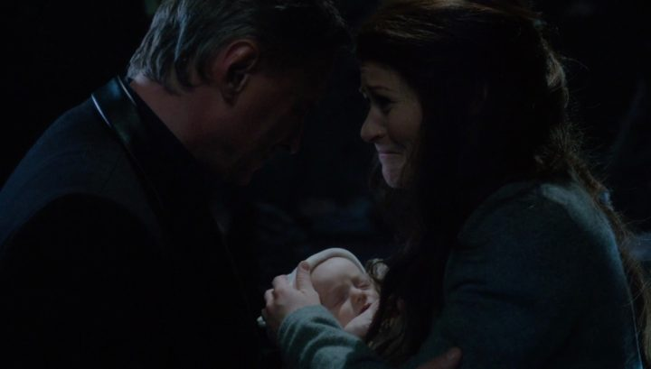 Once Upon a Time 6x21 6x22 The Final Battle - Rumplestiltskin with Belle holding baby Gideon