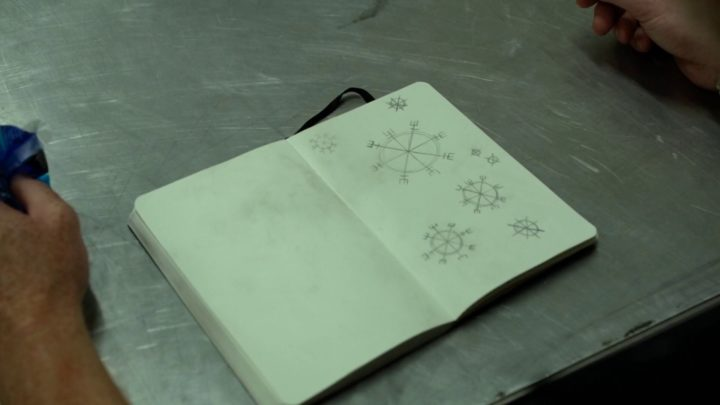 Once Upon a Time 7x05 Greenbacks - Rune in Eloise Gardener's notebook that ward off evil