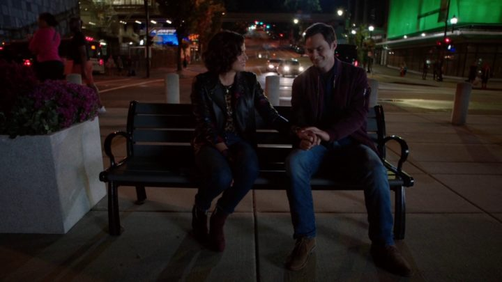 Once Upon a Time 7x06 Wake Up Call - Regina sitting on a bench with Henry