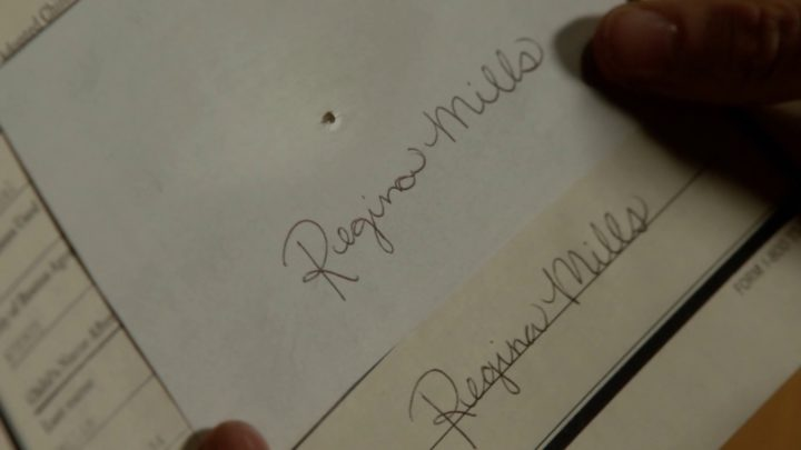 Once Upon a Time 7x06 Wake Up Call - Roni writing Regina Mills on a piece of paper