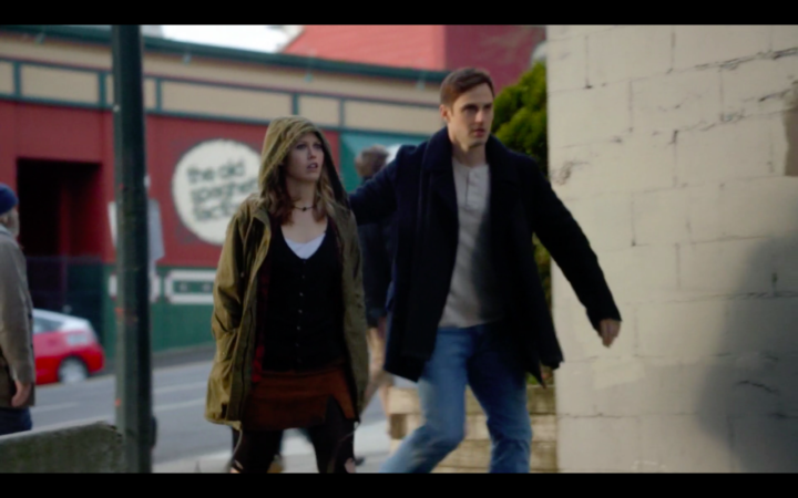 Once Upon a Time 7x14 The Girl in the Tower - The Old Spaghetti Factory in the background as Henry leads Alice away