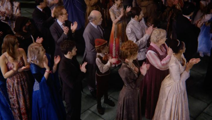 Once Upon a Time 7x22 Leaving Storybrooke - Granny, Zelena, Marco, Archie, Leroy and company at Regina's coronation