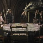 Once Upon a Time podcast 7x22 Leaving Storybrooke - Snow White and Prince Charming at the war table talking to Regina, Zelena, Henry, Alice, Robin, and Cinderella